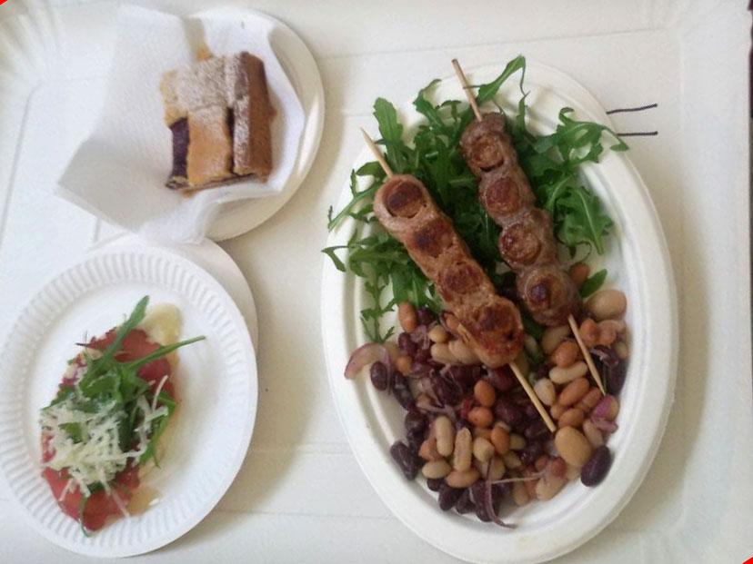 I nostri piatti a Sapori: purcitoro, crostino con bresaola di toro, crostata alla Nievo.